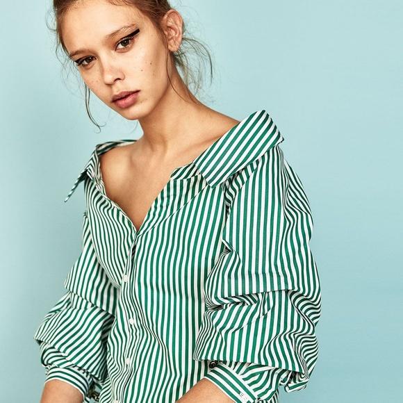 60c458b66af Zara Tops | Open Neck Off Shoulder Shirt Wpuffy Sleeves | Poshmark